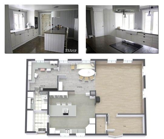 Kjøkken med betong benkeplater og betonggulv